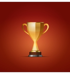 Cup of the winner on a red back vector image