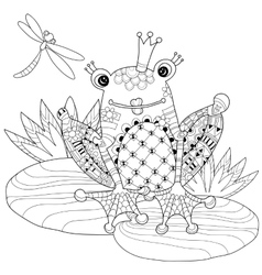Cute Frog Prince in crown with lotus vector image
