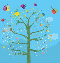 Funny card with tree and butterflies vector image
