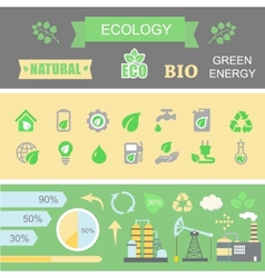 Green energy and ecology Infographic set elements vector image