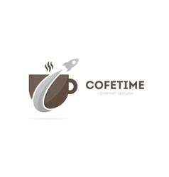 Rocket and coffee logo combination vector