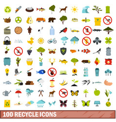 100 recycle icons set flat style vector image