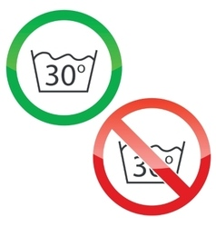 30 degrees wash permission signs vector