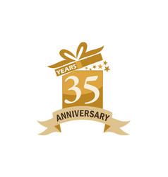 35 years gift box ribbon anniversary vector