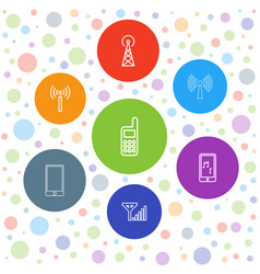 7 cellular icons vector