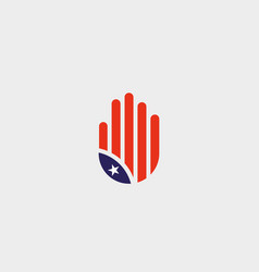 abstract hand us flag logo design stylized human vector image
