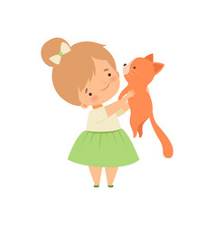 Adorable girl holding cute cat kid interacting vector
