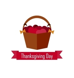 Apple basket on Thanksgiving Day flat vector