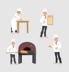 Bakery and baker at bakehouse flat design vector