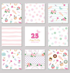 Birthday templates set cute seamless patterns vector