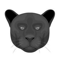 Black panther icon in monochrome style isolated on vector