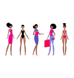 black woman in different styles of clothes with vector image