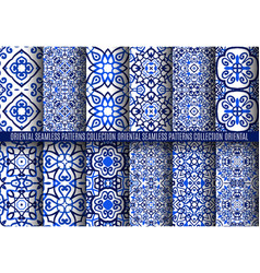 Blue arabesque patterns vector