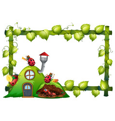 border template design with insects in garden vector image