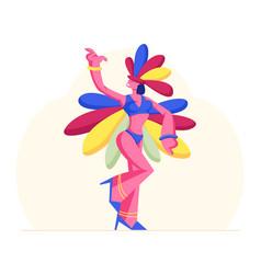 Brazilian samba dancer woman wearing festival vector