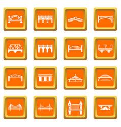 Bridge icons set orange square vector