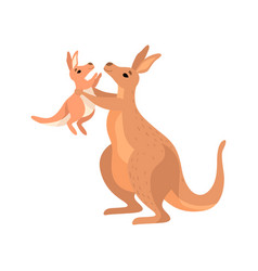 Brown kangaroo holding her little baby cute vector