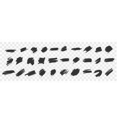 brush hand drawn underlines circles squares set vector image