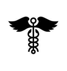caduceus wing snake medical logo icon vector image