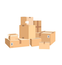 Cardboard boxes in different sizes packages vector