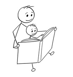 Cartoon of father and son reading a book together vector