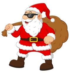 cartoon santa holding sack vector image