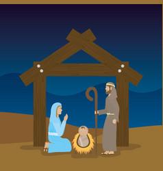 celebration merry christmas manger flat design vector image