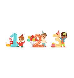 children stand next to big numbers vector image