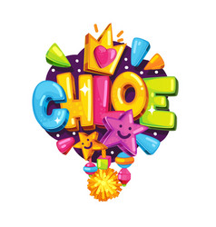 Chloe little girl name vector