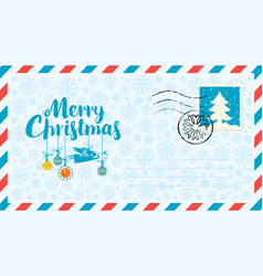 christmas envelope with angel snowflakes and fir vector image