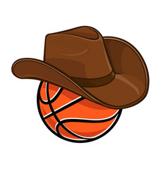 classic basketball with cowboy stetson hat vector image
