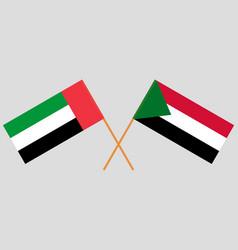 Crossed flags sudan and united arab vector