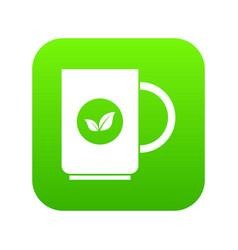 Cup of tea icon digital green vector