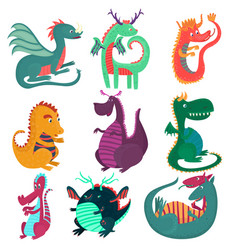 cute funny dragon characters set cchildish vector image