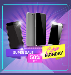 cyber monday super sale poster discounts on modern vector image