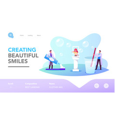 dental and oral health care landing page template vector image