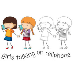 Doodle girl talking on cellphone vector