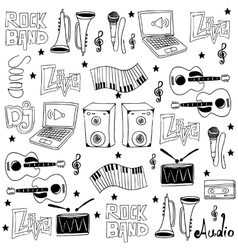 Doodle of music set tools vector