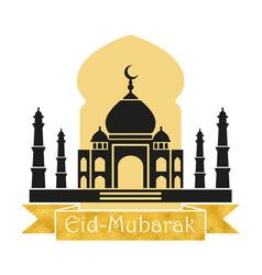 Eid mubarak design with a mosque and golden vector