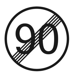 End maximum speed limit 90 sign line icon vector