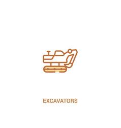 Excavators concept 2 colored icon simple line vector