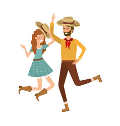 Farmers couple dancing with straw hat vector