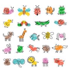 fingerprints for kids game preschool education vector image
