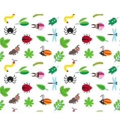 Funny cartoon insects and leaves background vector