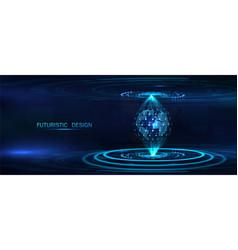 futuristic background earth globe hologram vector image