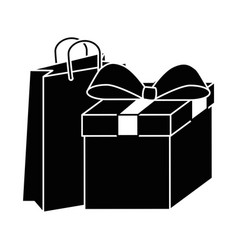 gift box present with shopping bag vector image