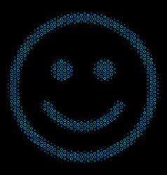 Glad smiley collage icon of halftone circles vector