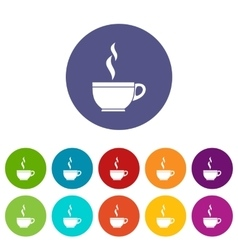 Glass cup of tea set icons vector image