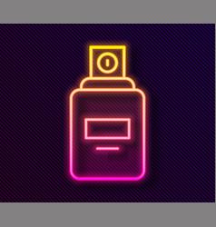 Glowing neon line perfume icon isolated on black vector