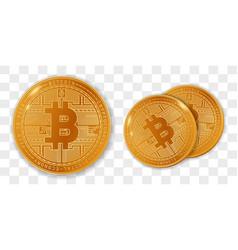 golden bitcoins in set vector image
